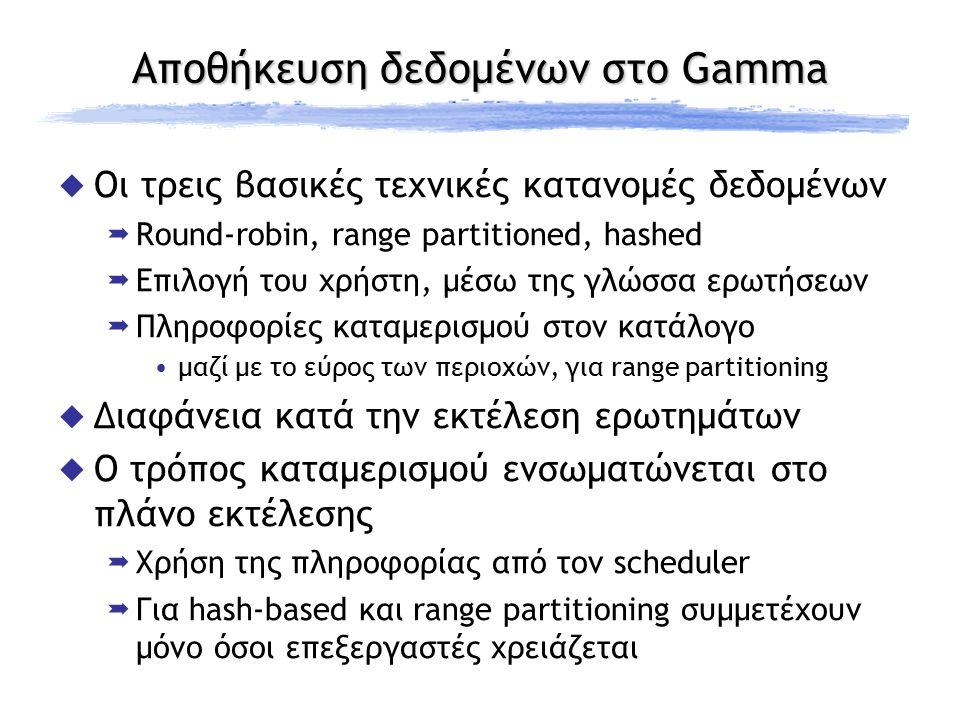 Αποθήκευση δεδομένων στο Gamma  Οι τρεις βασικές τεχνικές κατανομές δεδομένων  Round-robin, range partitioned, hashed  Επιλογή του χρήστη, μέσω της