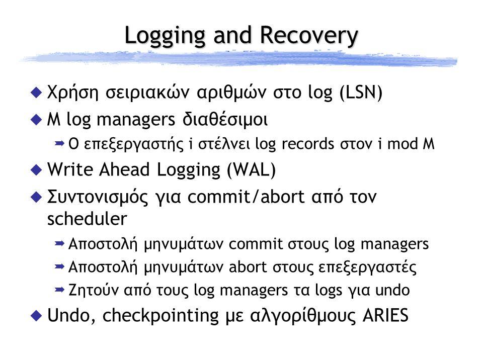 Logging and Recovery  Χρήση σειριακών αριθμών στο log (LSN)  M log managers διαθέσιμοι  Ο επεξεργαστής i στέλνει log records στον i mod M  Write A