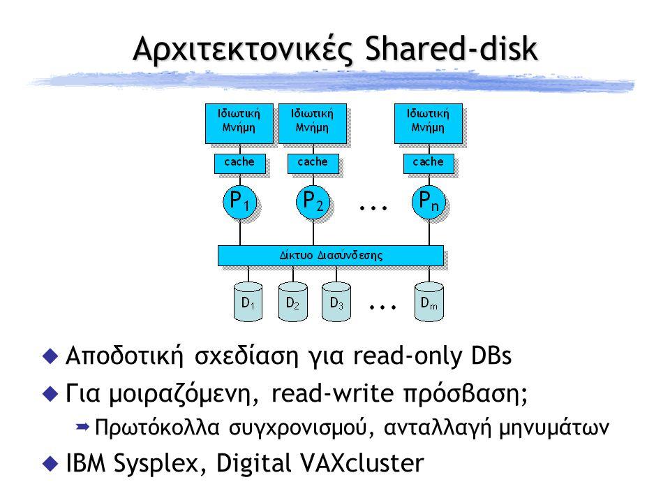 Αρχιτεκτονικές Shared-nothing  Κλιμάκωση σε 1000άδες επεξεργαστών  Σύγχρονα δίκτυα διασύνδεσης;  Επικοινωνία με message-passing  Αποστολή ερωτημάτων / λήψη αποτελεσμάτων  Παραδείγματα: Teradata, NonStopSQL(Tandem- Compaq), Bubba, Oracle nCUBE, Gamma