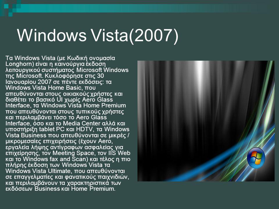 Windows Vista(2007) Τα Windows Vista (με Κωδική ονομασία Longhorn) είναι η καινούργια έκδοση λειτουργικού συστήματος Microsoft Windows της Microsoft.