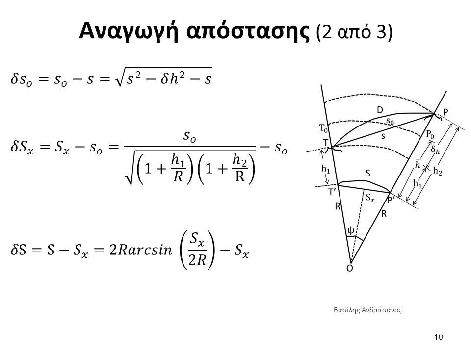 Αναγωγή απόστασης (2 από 3) 10 Βασίλης Ανδριτσάνος