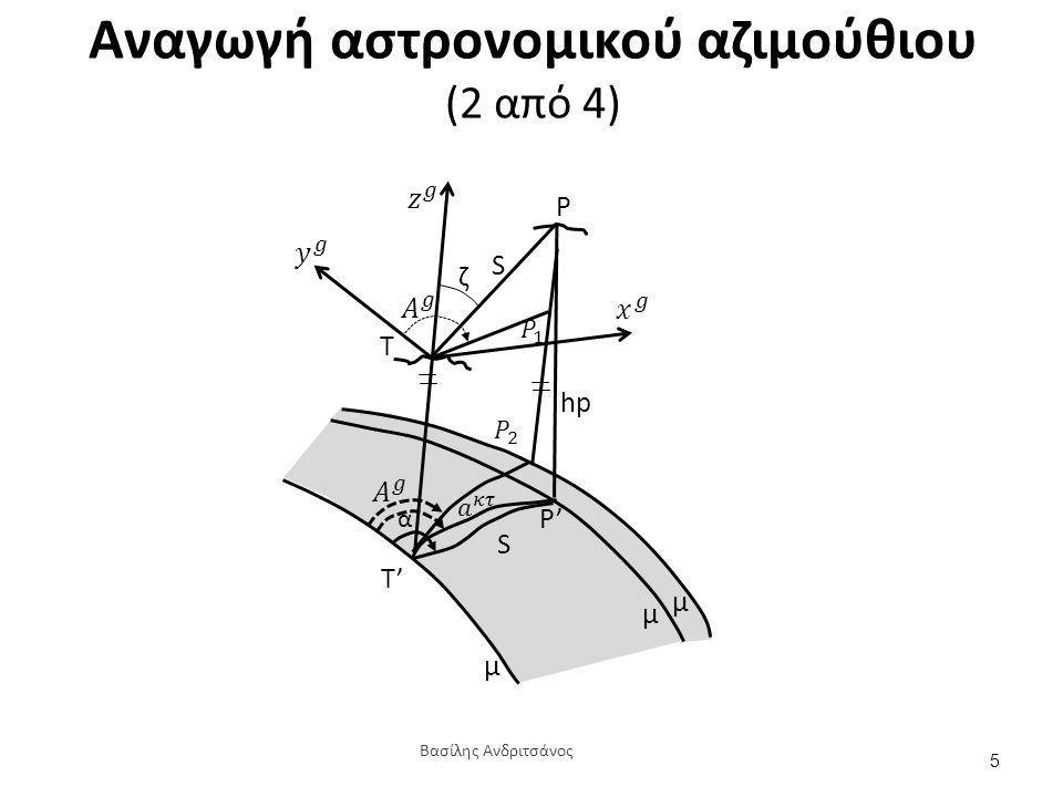Αναγωγή αστρονομικού αζιμούθιου (2 από 4) S T ζ hp S T' P' P μ μ μ α 5 Βασίλης Ανδριτσάνος