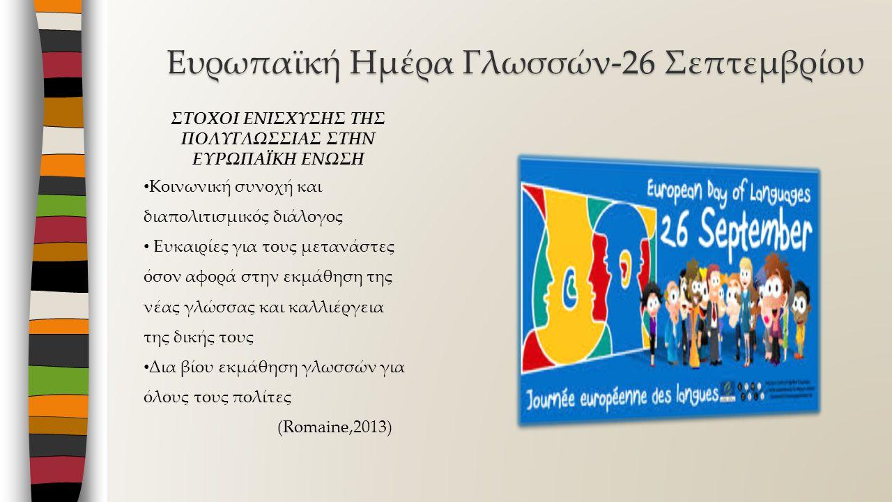 Ευρωπαϊκή Ημέρα Γλωσσών-26 Σεπτεμβρίου ΣΤΟΧΟΙ ΕΝΙΣΧΥΣΗΣ ΤΗΣ ΠΟΛΥΓΛΩΣΣΙΑΣ ΣΤΗΝ ΕΥΡΩΠΑΪΚΗ ΕΝΩΣΗ Κοινωνική συνοχή και διαπολιτισμικός διάλογος Ευκαιρίες για τους μετανάστες όσον αφορά στην εκμάθηση της νέας γλώσσας και καλλιέργεια της δικής τους Δια βίου εκμάθηση γλωσσών για όλους τους πολίτες (Romaine,2013)