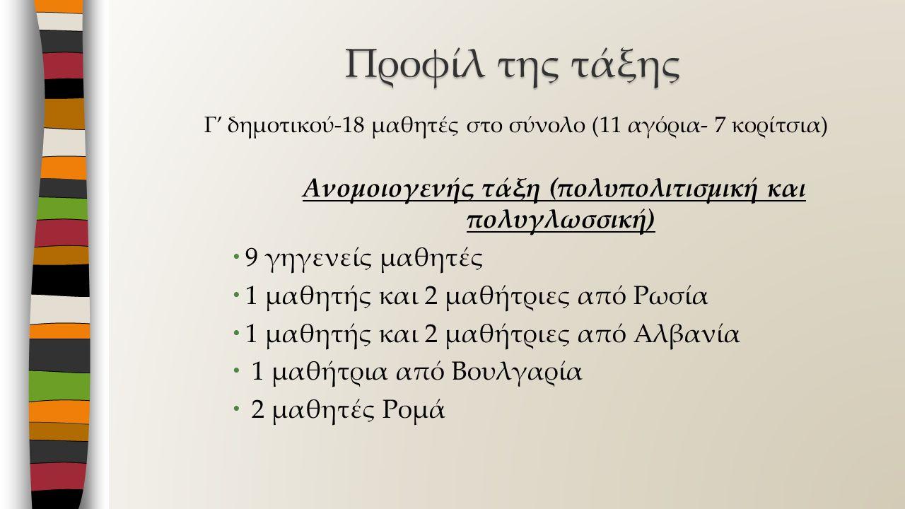Γ' δημοτικού-18 μαθητές στο σύνολο (11 αγόρια- 7 κορίτσια) Ανομοιογενής τάξη (πολυπολιτισμική και πολυγλωσσική)  9 γηγενείς μαθητές  1 μαθητής και 2 μαθήτριες από Ρωσία  1 μαθητής και 2 μαθήτριες από Αλβανία  1 μαθήτρια από Βουλγαρία  2 μαθητές Ρομά Προφίλ της τάξης