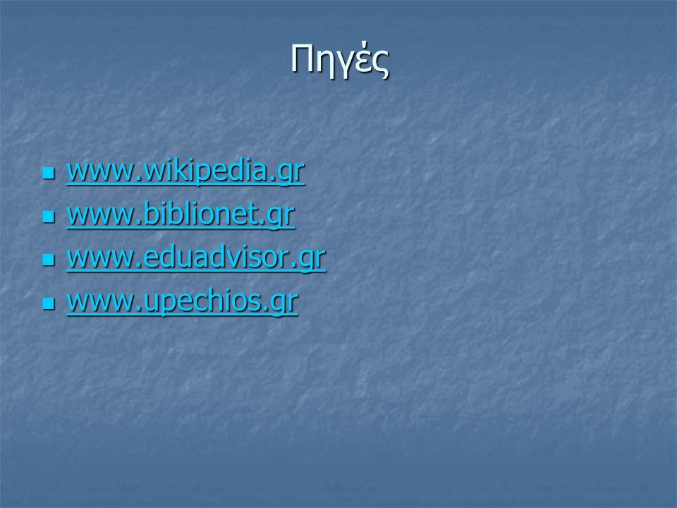 Πηγές www.wikipedia.gr www.wikipedia.gr www.wikipedia.gr www.biblionet.gr www.biblionet.gr www.biblionet.gr www.eduadvisor.gr www.eduadvisor.gr www.ed