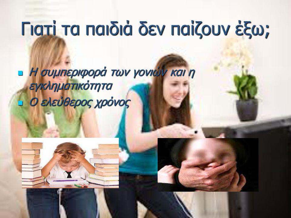 Γιατί τα παιδιά δεν παίζουν έξω; Η συμπεριφορά των γονιών και η εγκληματικότητα Η συμπεριφορά των γονιών και η εγκληματικότητα Ο ελεύθερος χρόνος Ο ελ