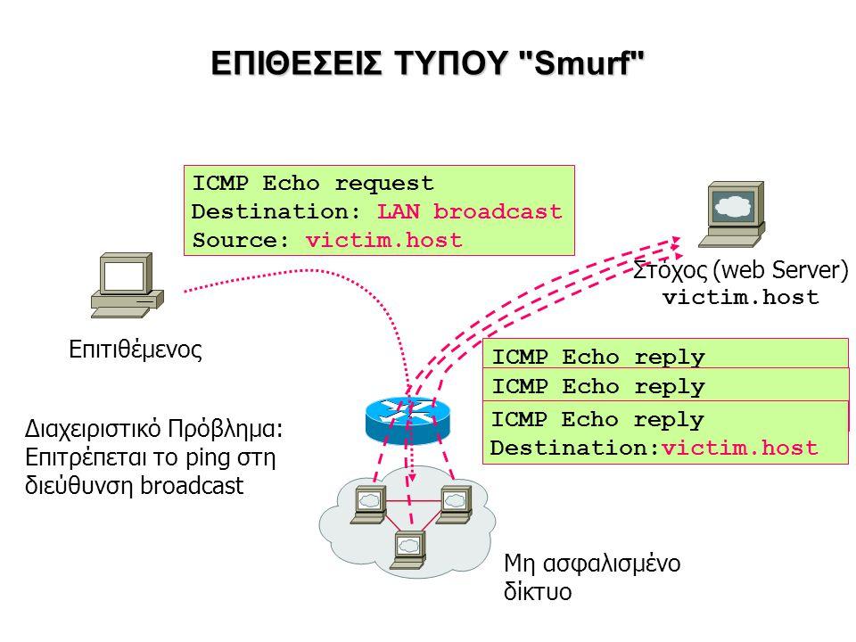ΕΠΙΘΕΣΕΙΣ ΤΥΠΟΥ Smurf Επιτιθέμενος Μη ασφαλισμένο δίκτυο ICMP Echo request Destination: LAN broadcast Source: victim.host Διαχειριστικό Πρόβλημα: Επιτρέπεται το ping στη διεύθυνση broadcast Στόχος (web Server) victim.host ICMP Echo reply Destination:victim.host ICMP Echo reply Destination:victim.host ICMP Echo reply Destination:victim.host
