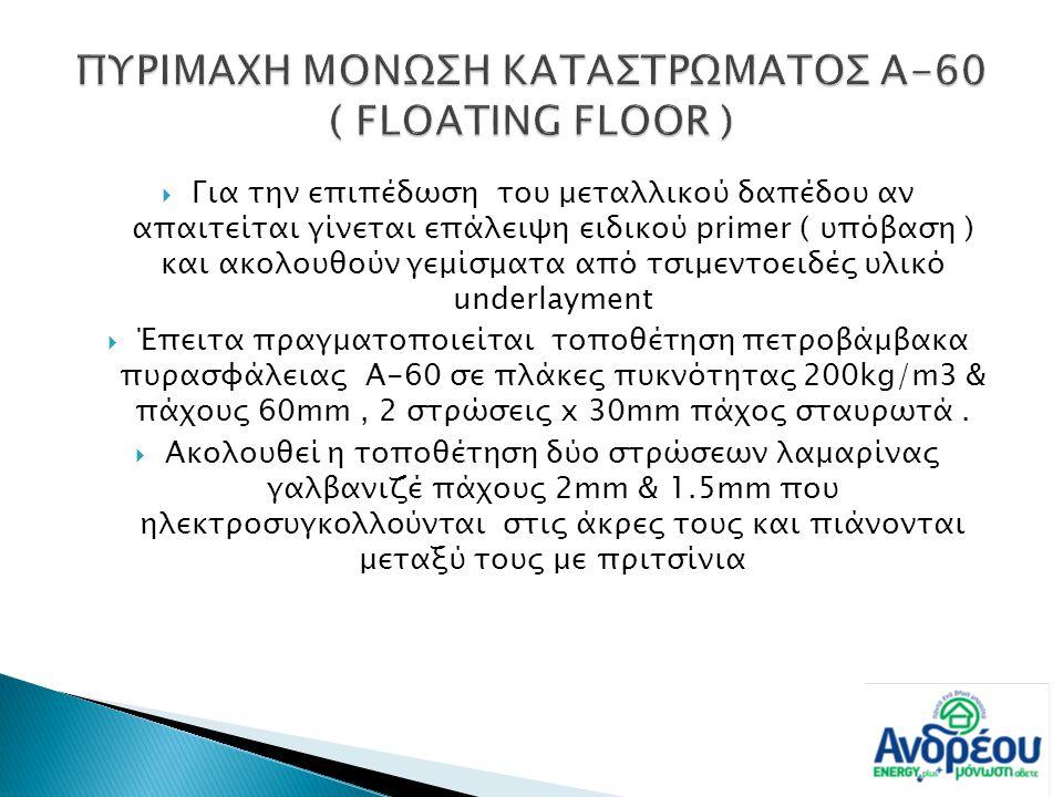  Για την επιπέδωση του μεταλλικού δαπέδου αν απαιτείται γίνεται επάλειψη ειδικού primer ( υπόβαση ) και ακολουθούν γεμίσματα από τσιμεντοειδές υλικό