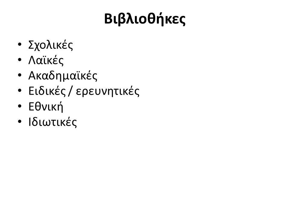 Ιδιωτικές στην Ελλάδα από δωρεές Πολλές δημόσιες και δημοτικές βιβλιοθήκες – Βιβλιοθήκη της Ανδρίτσαινας (δωρεά συλλογής Νικολόπουλου) – σημαίνει παράδοση Σήμερα, πληθώρα ιδιωτικών συλλογών – Βιβλιοθήκη Θεοτόκη στην Κέρκυρα – Βιβλιοθήκη της Αναγνωστικής Εταιρίας Κερκύρας – Βιβλιοθήκη του Αρχείου Βοβολίνη στην Αθήνα – Βιβλιοθήκη του Ε.Λ.Ι.Α.