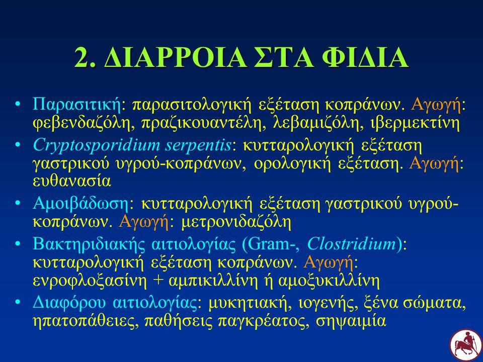 2. ΔΙΑΡΡΟΙΑ ΣΤΑ ΦΙΔΙΑ Παρασιτική: παρασιτολογική εξέταση κοπράνων. Αγωγή: φεβενδαζόλη, πραζικουαντέλη, λεβαμιζόλη, ιβερμεκτίνη Cryptosporidium serpent