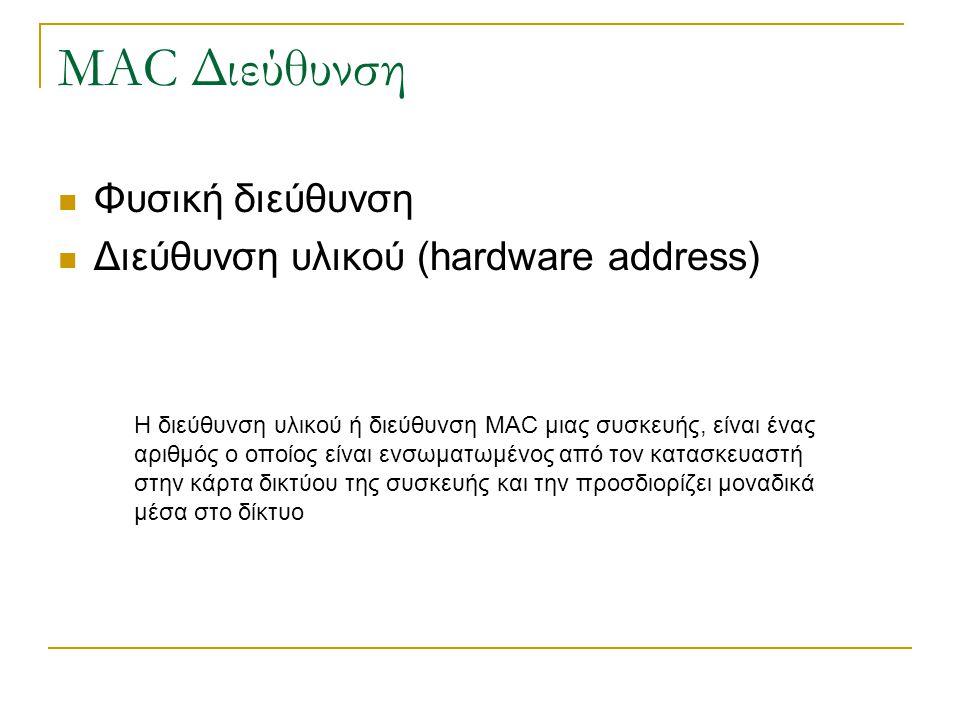 MAC Διεύθυνση Φυσική διεύθυνση Διεύθυνση υλικού (hardware address) Η διεύθυνση υλικού ή διεύθυνση MAC μιας συσκευής, είναι ένας αριθμός ο οποίος είναι