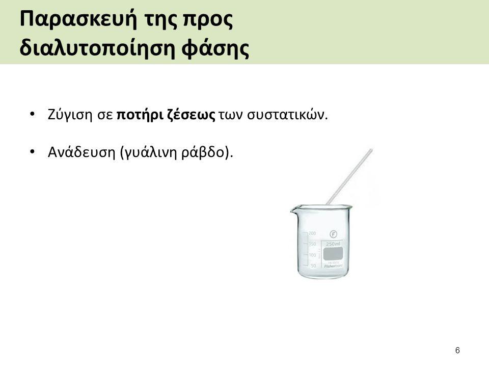 Παρασκευή της υδατικής φάσης Διάλυση σε νερό με ανάδευση (γυάλινη ράβδο) με τη σειρά που αναφέρονται: o Citric acid.