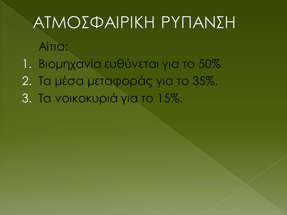 Αίτια: 1.Βιομηχανία ευθύνεται για το 50% 2. Τα μέσα μεταφοράς για το 35%, 3.