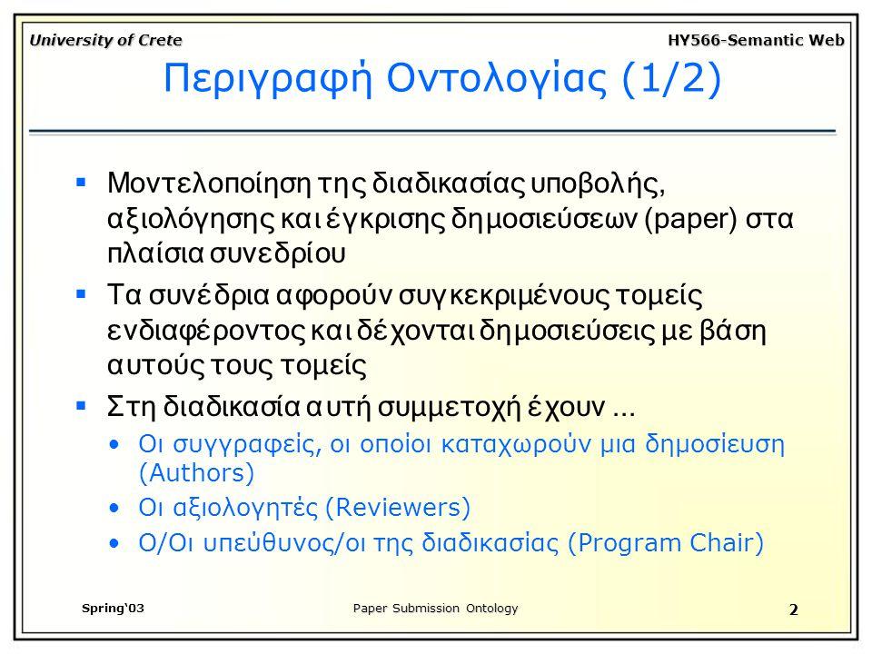 University of Crete HY566-Semantic Web Spring'03Paper Submission Ontology 2 Περιγραφή Οντολογίας (1/2)  Μοντελοποίηση της διαδικασίας υποβολής, αξιολόγησης και έγκρισης δημοσιεύσεων (paper) στα πλαίσια συνεδρίου  Τα συνέδρια αφορούν συγκεκριμένους τομείς ενδιαφέροντος και δέχονται δημοσιεύσεις με βάση αυτούς τους τομείς  Στη διαδικασία αυτή συμμετοχή έχουν...