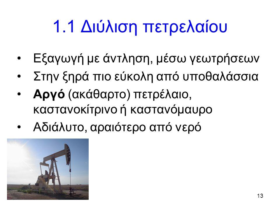 13 1.1 Διύλιση πετρελαίου Εξαγωγή με άντληση, μέσω γεωτρήσεων Στην ξηρά πιο εύκολη από υποθαλάσσια Αργό (ακάθαρτο) πετρέλαιο, καστανοκίτρινο ή καστανόμαυρο Αδιάλυτο, αραιότερο από νερό