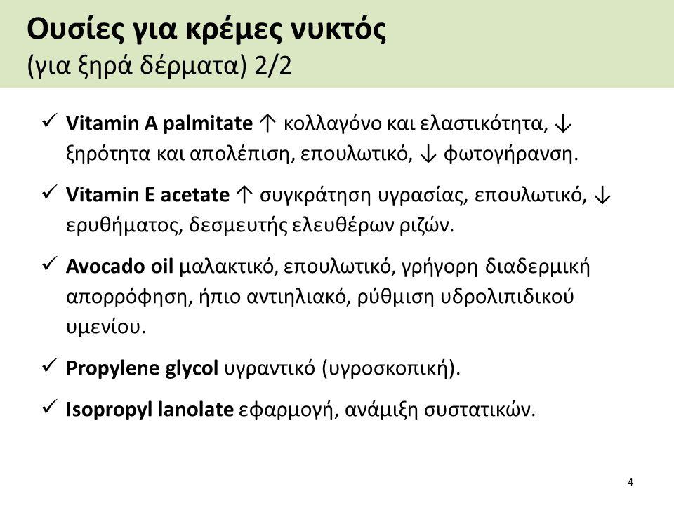 Ουσίες για κρέμες νυκτός (για ξηρά δέρματα) 2/2 Vitamin Α palmitate ↑ κολλαγόνο και ελαστικότητα, ↓ ξηρότητα και απολέπιση, επουλωτικό, ↓ φωτογήρανση.