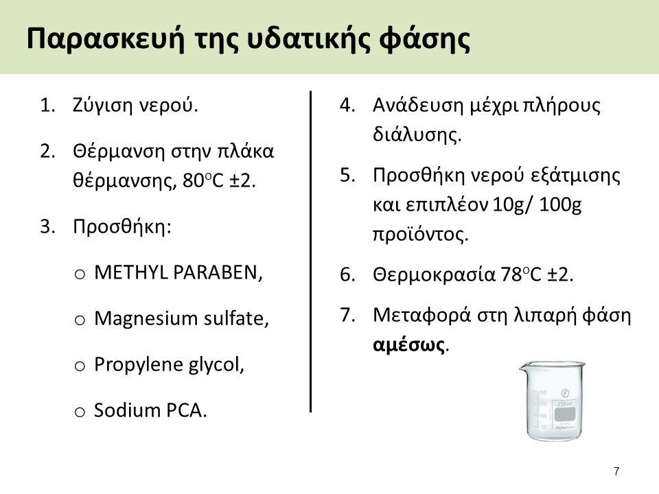 Παρασκευή της υδατικής φάσης 1.Ζύγιση νερού. 2.Θέρμανση στην πλάκα θέρμανσης, 80 ο C ±2. 3.Προσθήκη: o METHYL PARABEN, o Magnesium sulfate, o Propylen