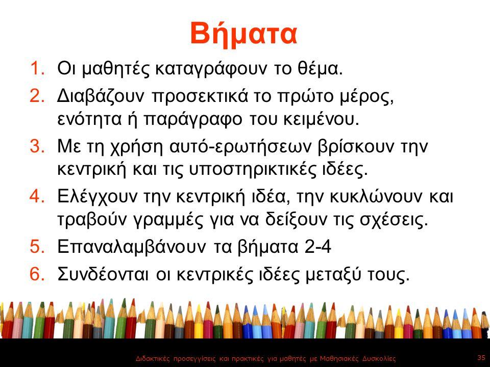 Βήματα 1.Οι μαθητές καταγράφουν το θέμα. 2.Διαβάζουν προσεκτικά το πρώτο μέρος, ενότητα ή παράγραφο του κειμένου. 3.Με τη χρήση αυτό-ερωτήσεων βρίσκου