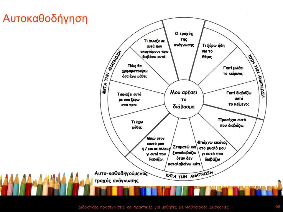 Αυτοκαθοδήγηση Διδακτικές προσεγγίσεις και πρακτικές για μαθητές με Μαθησιακές Δυσκολίες 68