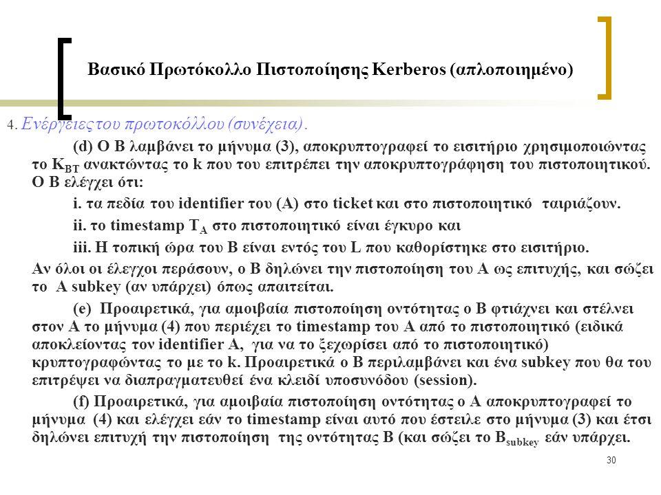 30 Βασικό Πρωτόκολλο Πιστοποίησης Kerberos (απλοποιημένο) 4.