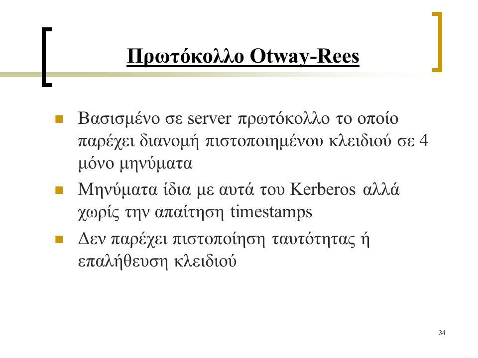 34 Πρωτόκολλο Otway-Rees Βασισμένο σε server πρωτόκολλο το οποίο παρέχει διανομή πιστοποιημένου κλειδιού σε 4 μόνο μηνύματα Μηνύματα ίδια με αυτά του Kerberos αλλά χωρίς την απαίτηση timestamps Δεν παρέχει πιστοποίηση ταυτότητας ή επαλήθευση κλειδιού