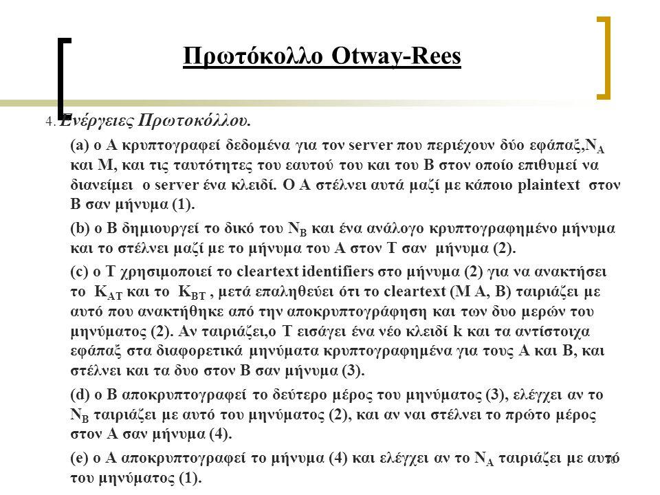 36 Πρωτόκολλο Otway-Rees 4. Ενέργειες Πρωτοκόλλου.