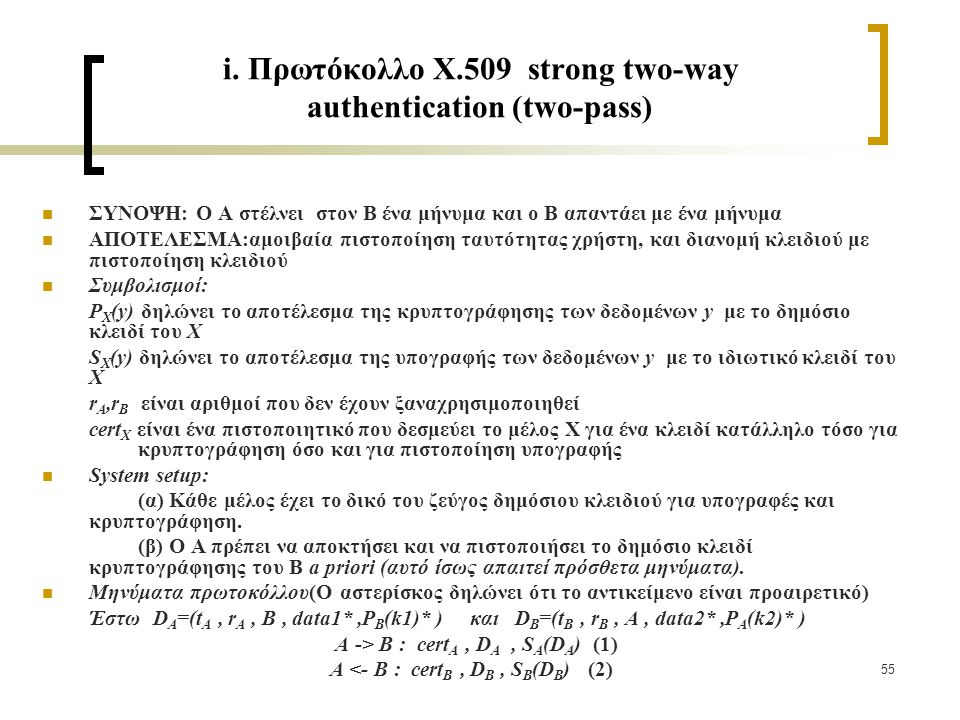 55 i. Πρωτόκολλο X.509 strong two-way authentication (two-pass) ΣΥΝΟΨΗ: Ο Α στέλνει στον Β ένα μήνυμα και ο Β απαντάει με ένα μήνυμα ΑΠΟΤΕΛΕΣΜΑ:αμοιβα