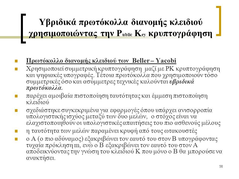 58 Υβριδικά πρωτόκολλα διανομής κλειδιού χρησιμοποιώντας την Ρ ublic Κ ey κρυπτογράφηση Πρωτόκολλο διανομής κλειδιού των Beller – Yacobi Χρησιμοποιεί συμμετρική κρυπτογράφηση μαζί με ΡΚ κρυπτογράφηση και ψηφιακές υπογραφές.