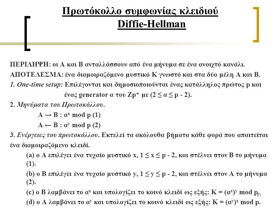 61 Πρωτόκολλο συμφωνίας κλειδιού Diffie-Hellman ΠΕΡΙΛΗΨΗ: οι A και B ανταλλάσσουν από ένα μήνυμα σε ένα ανοιχτό κανάλι.