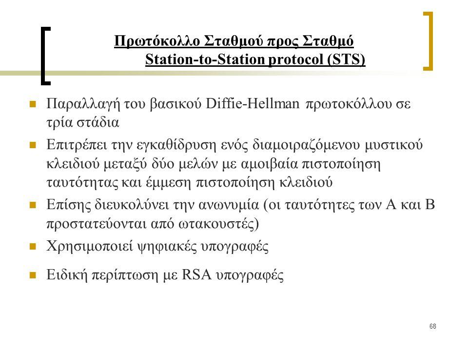 68 Πρωτόκολλο Σταθμού προς Σταθμό Station-to-Station protocol (STS) Παραλλαγή του βασικού Diffie-Hellman πρωτοκόλλου σε τρία στάδια Επιτρέπει την εγκαθίδρυση ενός διαμοιραζόμενου μυστικού κλειδιού μεταξύ δύο μελών με αμοιβαία πιστοποίηση ταυτότητας και έμμεση πιστοποίηση κλειδιού Επίσης διευκολύνει την ανωνυμία (οι ταυτότητες των Α και Β προστατεύονται από ωτακουστές) Χρησιμοποιεί ψηφιακές υπογραφές Ειδική περίπτωση με RSA υπογραφές