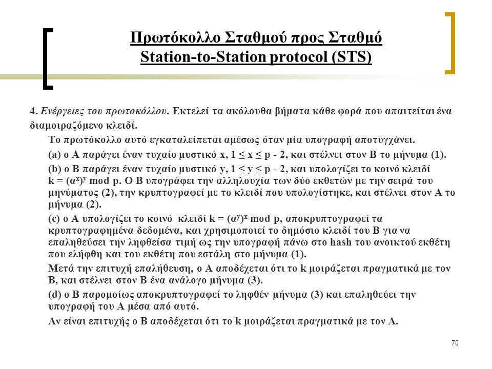 70 Πρωτόκολλο Σταθμού προς Σταθμό Station-to-Station protocol (STS) 4.