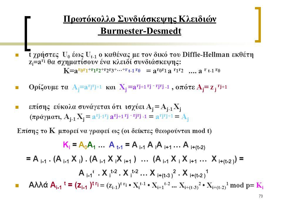 79 Πρωτόκολλο Συνδιάσκεψης Κλειδιών Burmester-Desmedt t χρήστες U 0 έως U t-1 ο καθένας με τον δικό του Diffie-Hellman εκθέτη z i =a r i θα σχηματίσουν ένα κλειδί συνδιάσκεψης: Κ=a r 0 r 1 +r 1 r 2 +r 2 r 3 +…+r t-1 r 0 = a r 0 r 1 a r 1 r 2....