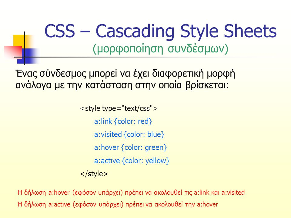 CSS – Cascading Style Sheets (μορφοποίηση συνδέσμων) Ένας σύνδεσμος μπορεί να έχει διαφορετική μορφή ανάλογα με την κατάσταση στην οποία βρίσκεται: a:link {color: red} a:visited {color: blue} a:hover {color: green} a:active {color: yellow} Η δήλωση a:hover (εφόσον υπάρχει) πρέπει να ακολουθεί τις a:link και a:visited Η δήλωση a:active (εφόσον υπάρχει) πρέπει να ακολουθεί την a:hover