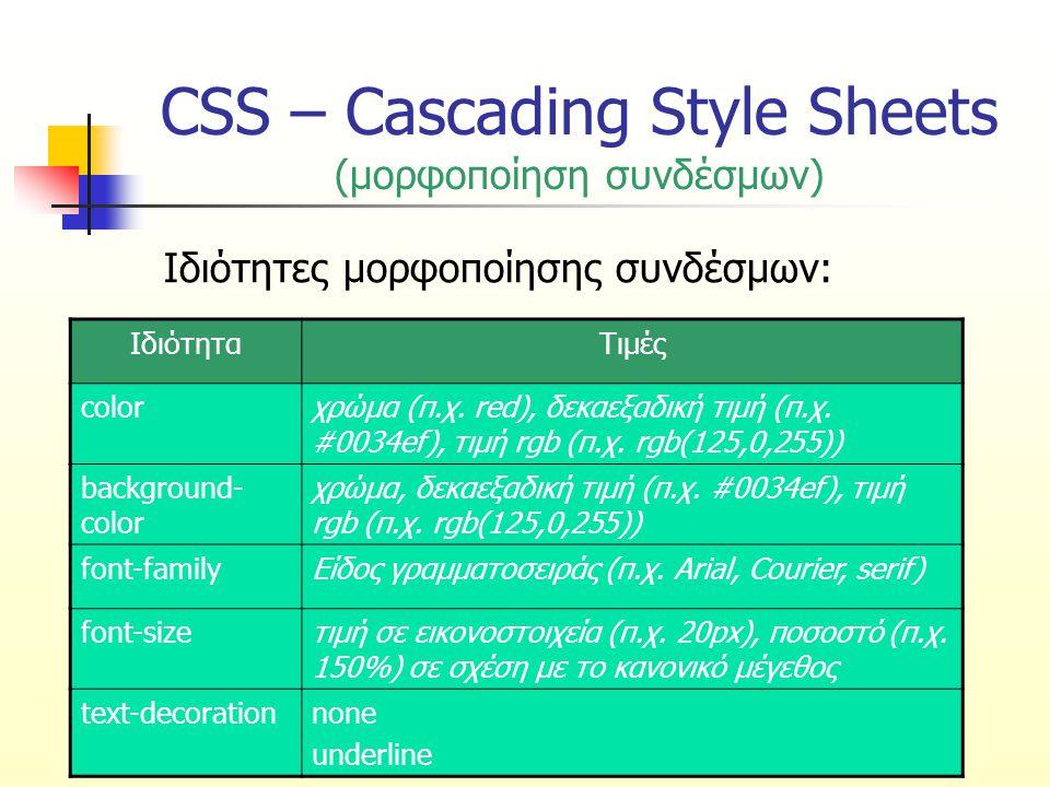 CSS – Cascading Style Sheets (μορφοποίηση συνδέσμων – 2 ο παράδειγμα) a.one:link {color: #ff0000} a.one:visited {color: #0000ff} a.one:hover {color: #ffcc00} a.two:link {color: #ff0000} a.two:visited {color: #0000ff} a.two:hover {font-size: 150%} a.three:link {color: #ff0000} a.three:visited {color: #0000ff} a.three:hover {background: #66ff66} a.four:link {color: #ff0000} a.four:visited {color: #0000ff} a.four:hover {font-family: monospace} a.five:link {color: #ff0000; text-decoration: none} a.five:visited {color: #0000ff; text-decoration: none} a.five:hover {text-decoration: underline} ΠΑΤΗΣΤΕ ΕΔΩ ΓΙΑ ΝΑ ΔΕΙΤΕ ΤΟ ΑΡΧΕΙΟ HTML ΠΑΤΗΣΤΕ ΕΔΩ ΓΙΑ ΝΑ ΔΕΙΤΕ ΤΟ ΑΡΧΕΙΟ HTML Αυτός ο σύνδεσμος αλλάζει χρώμα Αυτός ο σύνδεσμος αλλάζει μέγεθος Αυτός ο σύνδεσμος αλλάζει χρώμα φόντου Αυτός ο σύνδεσμος αλλάζει είδος γραμματοσειράς Αυτός ο σύνδεσμος αλλάζει «διακόσμηση»