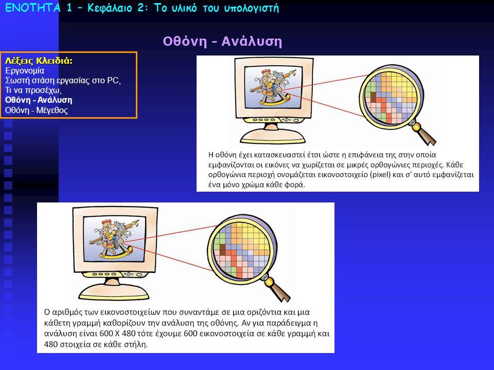 ΕΝΟΤΗΤΑ 1 – Κεφάλαιο 2: To υλικό του υπολογιστή Οθόνη - Ανάλυση Λέξεις Κλειδιά: Εργονομία Σωστή στάση εργασίας στο PC, Τι να προσέχω, Οθόνη - Ανάλυση