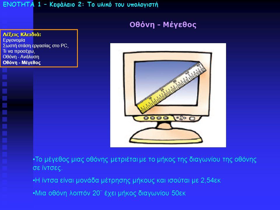 ΕΝΟΤΗΤΑ 1 – Κεφάλαιο 2: To υλικό του υπολογιστή Οθόνη - Μέγεθος Λέξεις Κλειδιά: Εργονομία Σωστή στάση εργασίας στο PC, Τι να προσέχω, Οθόνη - Ανάλυση