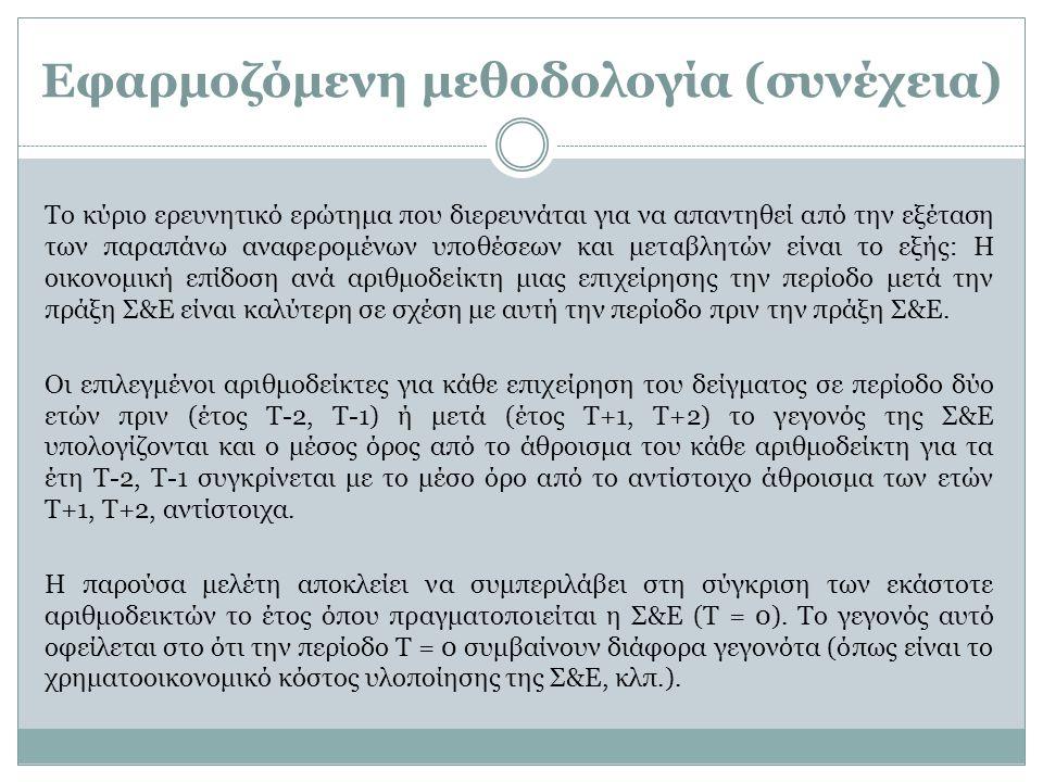 Εφαρμοζόμενη μεθοδολογία (συνέχεια) Το κύριο ερευνητικό ερώτημα που διερευνάται για να απαντηθεί από την εξέταση των παραπάνω αναφερομένων υποθέσεων κ