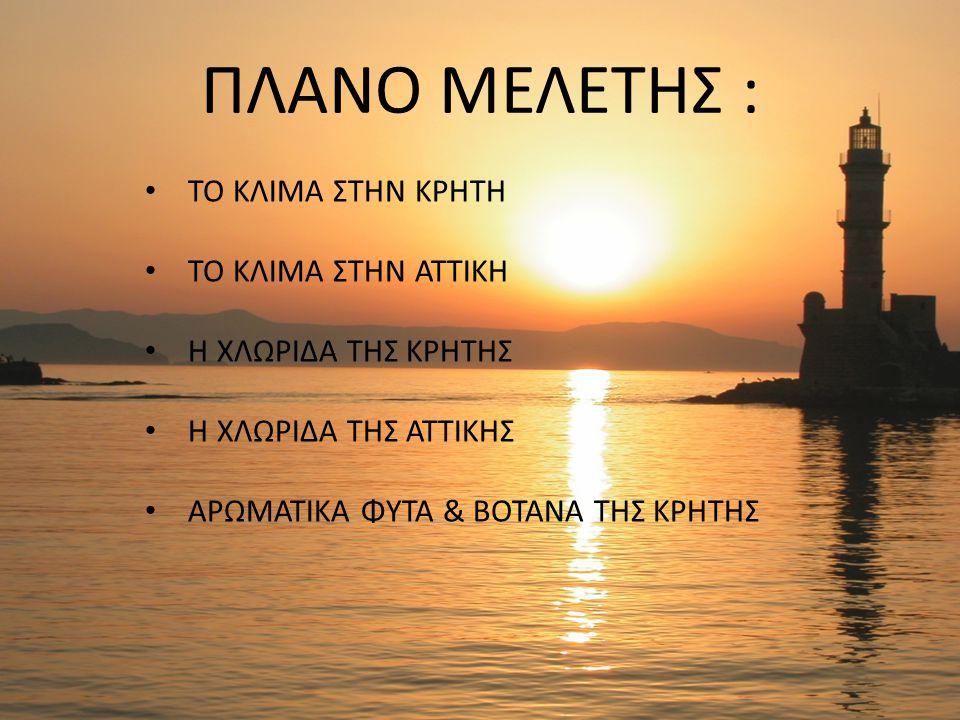 ΤΟ ΚΛΙΜΑ ΣΤΗΝ ΚΡΗΤΗ Η Κρήτη ανήκει στη μεσογειακή κλιματολογική ζώνη που προσδίδει τον κύριο κλιματικό χαρακτήρα της, ο οποίος χαρακτηρίζεται ως εύκρατος.