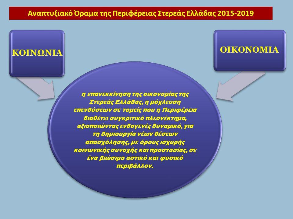 η επανεκκίνηση της οικονομίας της Στερεάς Ελλάδας, η μόχλευση επενδύσεων σε τομείς που η Περιφέρεια διαθέτει συγκριτικό πλεονέκτημα, αξιοποιώντας ενδογενές δυναμικό, για τη δημιουργία νέων θέσεων απασχόλησης, με όρους ισχυρής κοινωνικής συνοχής και προστασίας, σε ένα βιώσιμο αστικό και φυσικό περιβάλλον.