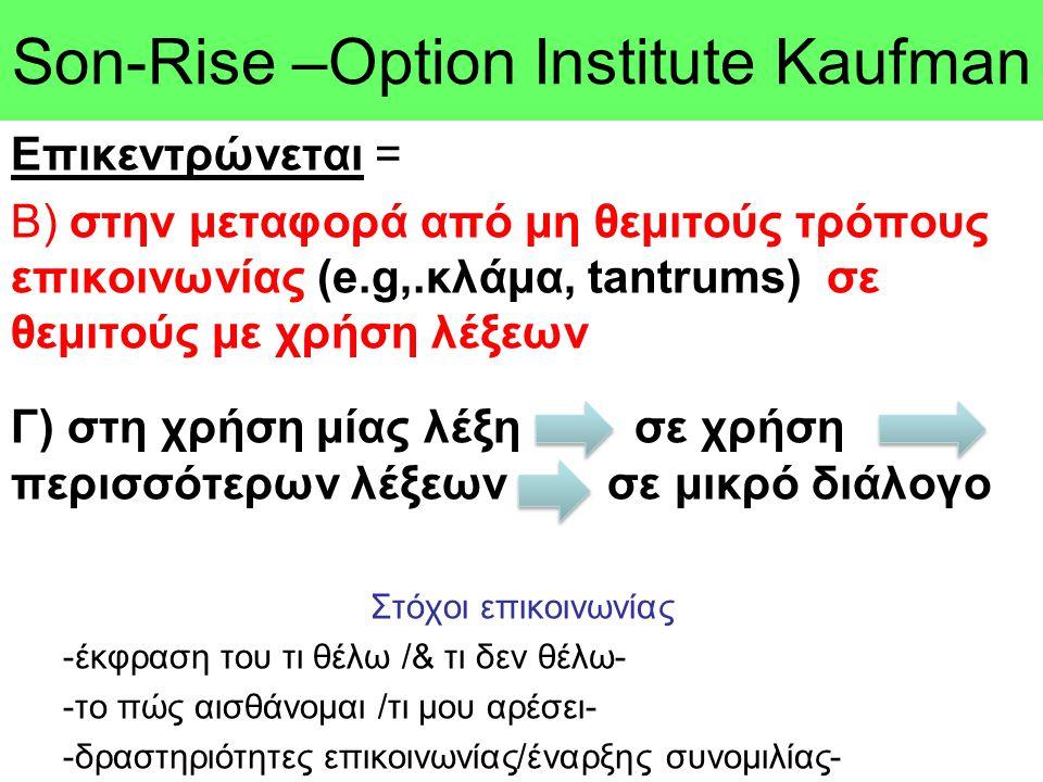 Son-Rise –Option Ιnstitute Kaufman Επικεντρώνεται = Β) στην μεταφορά από μη θεμιτούς τρόπους επικοινωνίας (e.g,.κλάμα, tantrums) σε θεμιτούς με χρήση