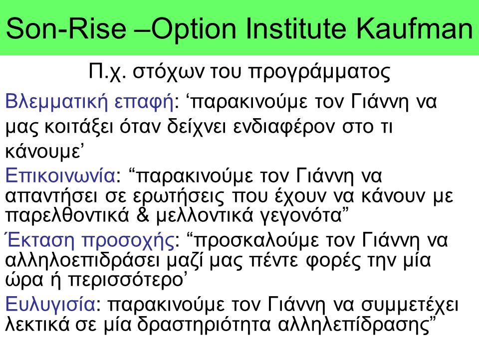 Son-Rise –Option Ιnstitute Kaufman Π.χ. στόχων του προγράμματος Βλεμματική επαφή: 'παρακινούμε τον Γιάννη να μας κοιτάξει όταν δείχνει ενδιαφέρον στο