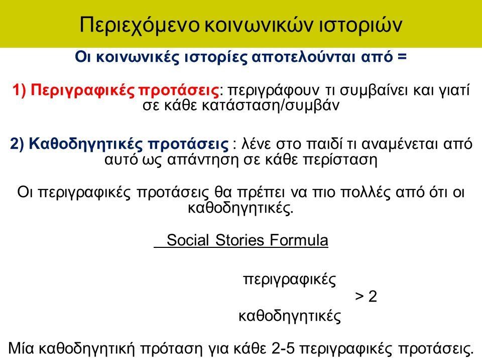 Περιεχόμενο κοινωνικών ιστοριών Οι κοινωνικές ιστορίες αποτελούνται από = 1) Περιγραφικές προτάσεις: περιγράφουν τι συμβαίνει και γιατί σε κάθε κατάστ