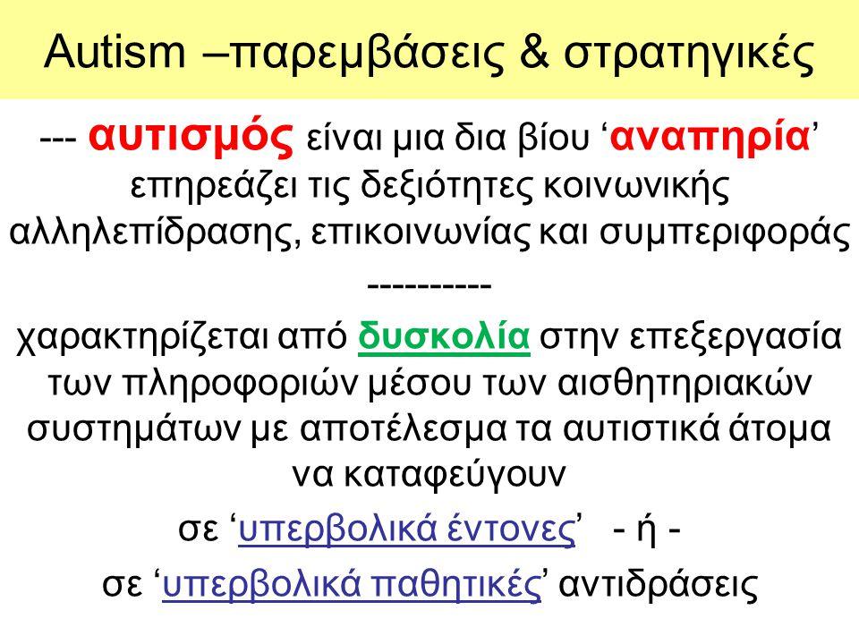 Son-Rise –Option Ιnstitute Kaufman Η παρέμβαση αυτή τροποποιεί το παράδειγμα ερέθισμα – αντίδραση με ένα απλή αναδίπλωση.