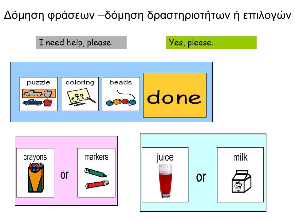 Δόμηση φράσεων –δόμηση δραστηριοτήτων ή επιλογών Yes, please.I need help, please.