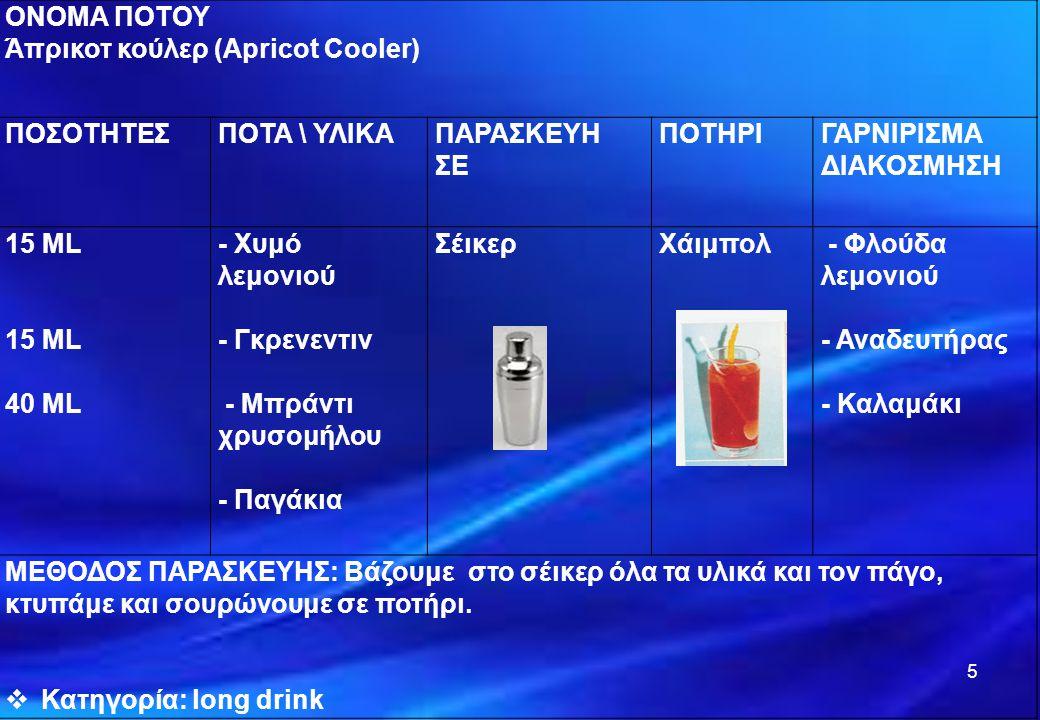 ΟΝΟΜΑ ΠΟΤΟΥ Άπρικοτ κούλερ (Apricot Cooler) ΠΟΣΟΤΗΤΕΣΠΟΤΑ \ ΥΛΙΚΑΠΑΡΑΣΚΕΥΗ ΣΕ ΠΟΤΗΡΙΓΑΡΝΙΡΙΣΜΑ ΔΙΑΚΟΣΜΗΣΗ 15 ML 40 ML - Χυμό λεμονιού - Γκρενεντιν - Μ