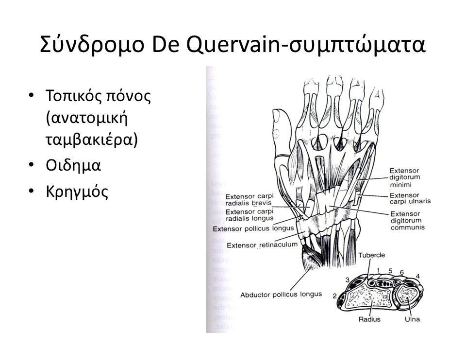 Σύνδρομο De Quervain-συμπτώματα Τοπικός πόνος (ανατομική ταμβακιέρα) Οιδημα Κρηγμός