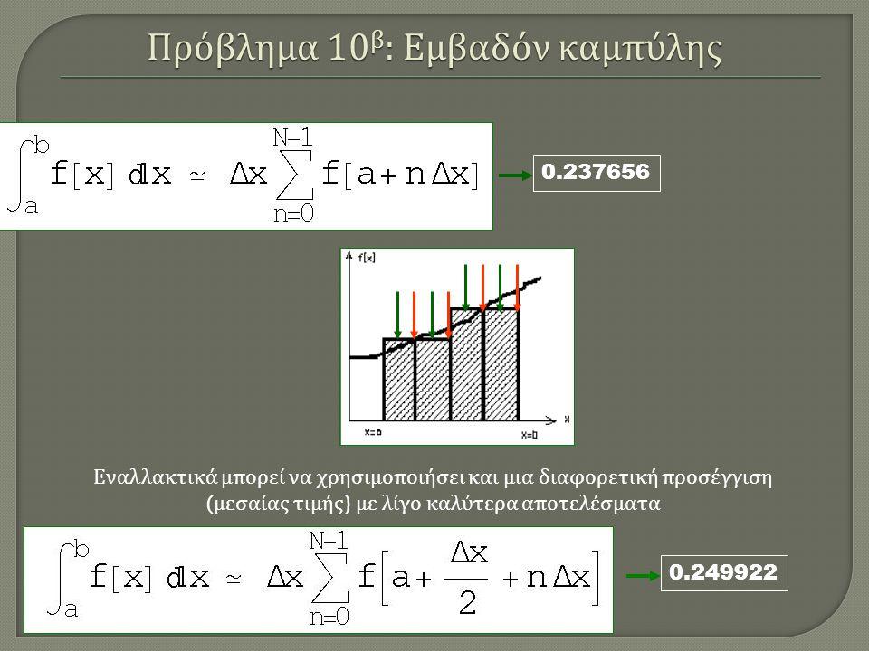 0.249922 0.237656 Εναλλακτικά μπορεί να χρησιμοποιήσει και μια διαφορετική προσέγγιση ( μεσαίας τιμής ) με λίγο καλύτερα αποτελέσματα Πρόβλημα 10 β : Εμβαδόν καμπύλης