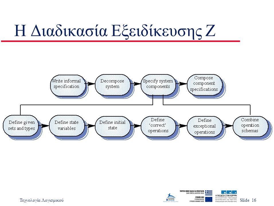 Τεχνολογία ΛογισμικούSlide 16 Η Διαδικασία Εξειδίκευσης Z
