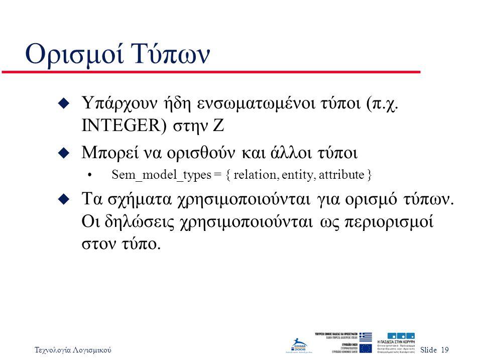 Τεχνολογία ΛογισμικούSlide 19 Ορισμοί Τύπων u Υπάρχουν ήδη ενσωματωμένοι τύποι (π.χ.
