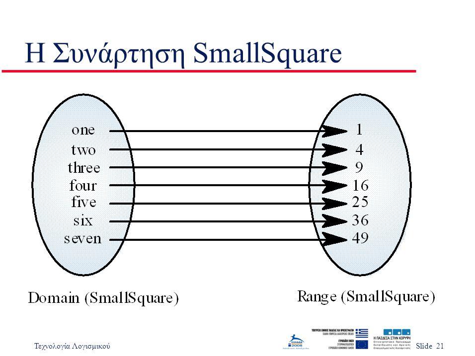 Τεχνολογία ΛογισμικούSlide 21 Η Συνάρτηση SmallSquare